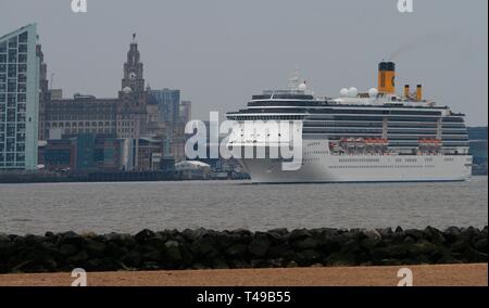 Liverpool,Uk Costa Mediterranea cruises leaves liverpool credit Ian Fairbrother/Alamy Stock Photos - Stock Photo