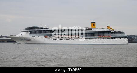 Liverpool,Uk Costa Mediterranea cruises leaves liverpool credit Ian Fairbrother/Alamy Stock Photos - Stock Photo