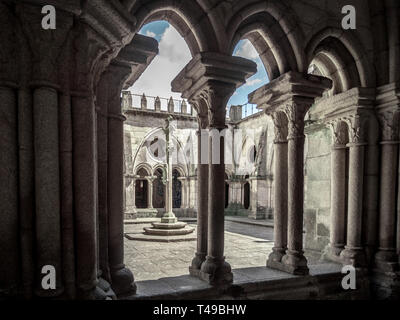 Romanesque cloisters of Cathedral of Porto, Portugal - Stock Photo