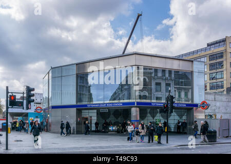Recently refurbished Tottenham Court Road tube station at junction of Oxford Street & Charing Cross Road. - Stock Photo