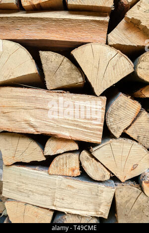 Stacked Firewood; - Stock Photo