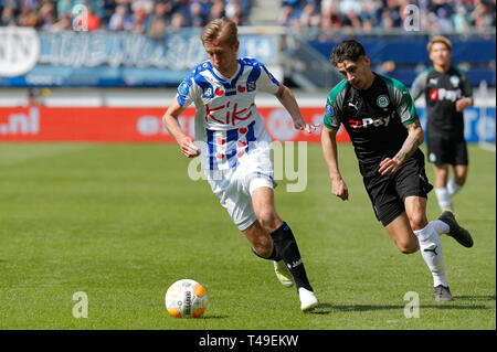 14th of april 2019 Heerenveen, The Netherlands Soccer Dutch Eredivisie SC Heerenveen v FC Groningen  Eredivisie Seizoen 2018 - 2019, (L-R)  Ludovit Re - Stock Photo