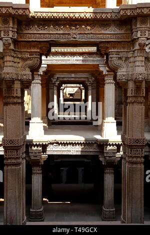 Adalaj Stepwell is a Hindu building in the village of Adalaj near Ahmedabad in the Indian state of Gujarat. - Stock Photo