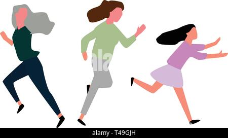 Running girl isolated on white,Vector. - Stock Photo