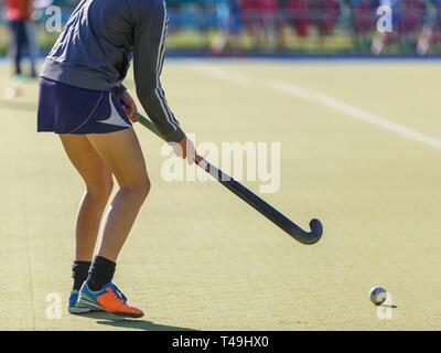 Sportswoman with stick and ball on field hockey training - Stock Photo