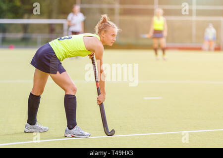 Young professional hockey player with stick on the field - Stock Photo