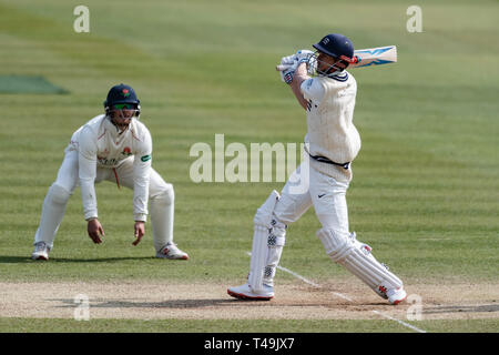 London, UK. 14th Apr, 2019. John Simpson of Middlesex (right) during Specsavers County Championship match between Middlesex vs Lancashire at The Lord's Cricket Ground on Sunday, April 14, 2019 in  London England. (Editorial use only, license required for commercial use. No use in betting, games or a single club/league/player publications.) Credit: Taka G Wu/Alamy Live News - Stock Photo