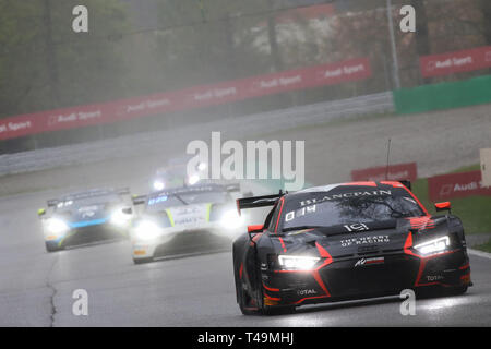Monza, Italy. 14th Apr, 2019. Belgian Audi Club Team WRT Audi R8 LMS GT3 Evo with drivers Dries Vanthoor, Alex Riberas & Ezequiel Perez Companc during the 2019 Blancpain GT Series at Autodromo di Monza, Monza, Italy on 14 April 2019. Photo by Jurek Biegus.  Editorial use only, license required for commercial use. No use in betting, games or a single club/league/player publications. Credit: UK Sports Pics Ltd/Alamy Live News - Stock Photo