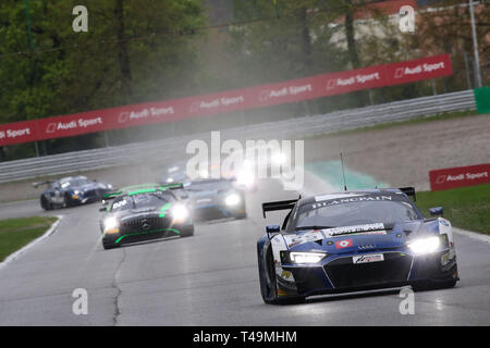 Monza, Italy. 14th Apr, 2019. Sainteloc Racing Audi R8 LMS GT3 Evo with drivers Markus Winkelhock, Steven Palette & Christopher Haase during the 2019 Blancpain GT Series at Autodromo di Monza, Monza, Italy on 14 April 2019. Photo by Jurek Biegus.  Editorial use only, license required for commercial use. No use in betting, games or a single club/league/player publications. Credit: UK Sports Pics Ltd/Alamy Live News - Stock Photo