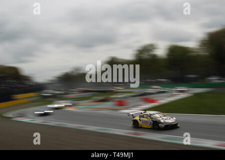 Monza, Italy. 14th Apr, 2019. ROWE Racing Porsche 911 GT3 R with drivers Dirk Werner, Matt Campbell & Dennis Olsen during the 2019 Blancpain GT Series at Autodromo di Monza, Monza, Italy on 14 April 2019. Photo by Jurek Biegus.  Editorial use only, license required for commercial use. No use in betting, games or a single club/league/player publications. Credit: UK Sports Pics Ltd/Alamy Live News - Stock Photo