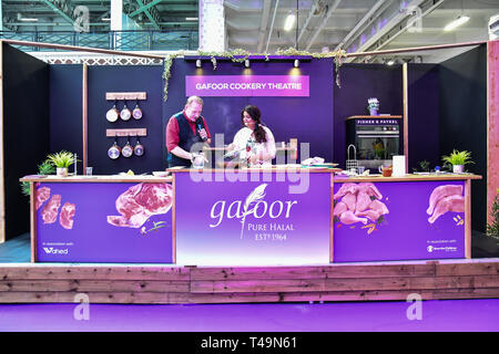 Olympia London, UK. 14th Apr 2019. A chef demotration at London Muslim Shopping Festival 2019 on 14 April 2019 at Olympia London, UK. Credit: Picture Capital/Alamy Live News - Stock Photo