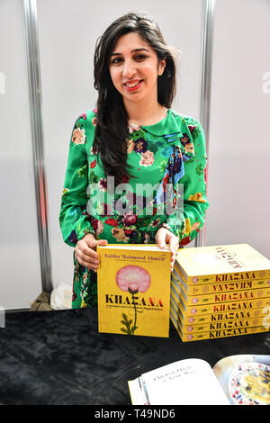Olympia London, UK. 14th Apr 2019. Saliha Mahmood Ahmed is a Winner of the Masterchef 2017 stall at London Muslim Shopping Festival 2019 on 14 April 2019 at Olympia London, UK. Credit: Picture Capital/Alamy Live News - Stock Photo