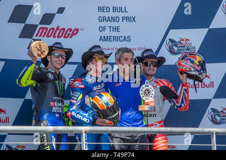Austin, Texas, USA. 14th Apr, 2019. Valentino Rossi (46), Alex Rins (42) and Jack Miller (43) in action during the Red Bull Grand Prix of the Americas race at the Circuit of the Americas racetrack in Austin, Texas. Credit: Dan Wozniak/ZUMA Wire/Alamy Live News - Stock Photo