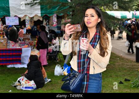 London, UK. 14th Apr, 2019. Celebrates Thai New Year (Songkran) at Buddhapadipa Temple in Wimbledon known as Songkran Water Festival, London, UK. Credit: Picture Capital/Alamy Live News - Stock Photo