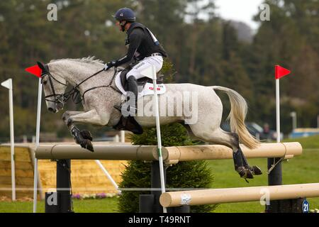 Norfolk, UK. 14th Apr, 2019. Winner. Oliver Townend riding Ballaghmor Class. GBR. water jump. CCI4*. Section B. Barefoot Retreats Burnham Market International Horse Trials. Eventing. Burnham Market. Norfolk. United Kingdom. GBR. {14}/{04}/{2019}. Credit: Sport In Pictures/Alamy Live News - Stock Photo