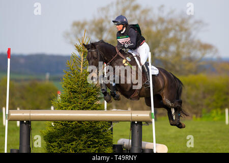 Norfolk, UK. 14th Apr, 2019. 7th Place. Piggy French riding Castletown Clover. GBR. CCI4*. Section C. Barefoot Retreats Burnham Market International Horse Trials. Eventing. Burnham Market. Norfolk. United Kingdom. GBR. {14}/{04}/{2019}. Credit: Sport In Pictures/Alamy Live News - Stock Photo