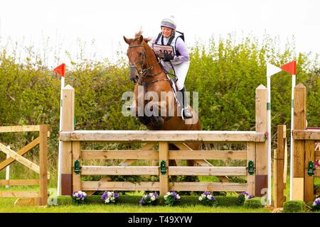 Norfolk, UK. 14th Apr 2019. 6th Place. Gemma Tattersall riding Jalapeno III. GBR. CCI3*. Section A1. Barefoot Retreats Burnham Market International Horse Trials. Eventing. Burnham Market. Norfolk. United Kingdom. GBR. {14}/{04}/{2019}. Credit: Sport In Pictures/Alamy Live News - Stock Photo