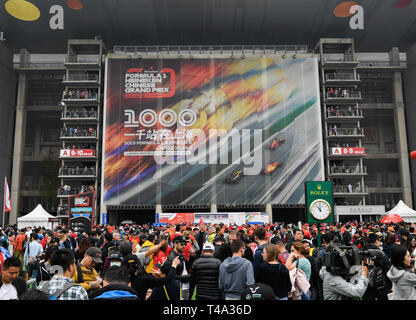 Shanghai, China. 14th Apr, 2019. Fans gather outside the racetrack before the Formula One Chinese Grand Prix in Shanghai, China, on April 14, 2019. Credit: Ding Ting/Xinhua/Alamy Live News - Stock Photo