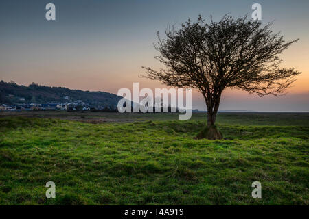 Penclawdd estuary sunset - Stock Photo