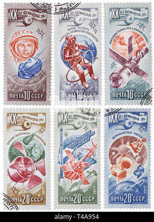 USSR - CIRCA 1977: Collection of 6 postage stamps printed in the USSR, shows different russian spacecraft, circa 1977 - Stock Photo