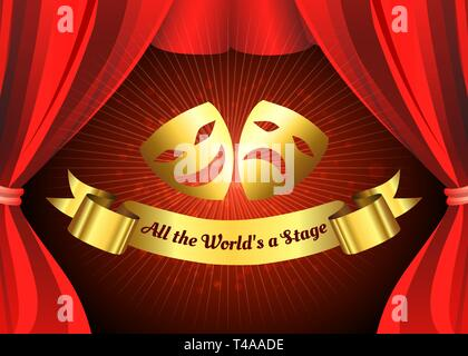 Comedy and tragedy golden masks on theatre stage background with Red Curtain. Vector illustration - Stock Photo