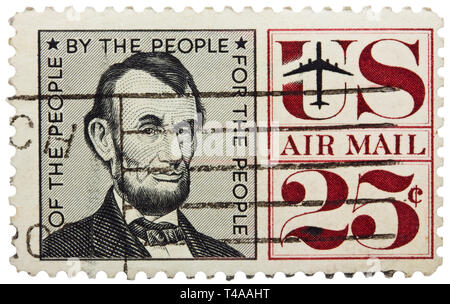 USA - CIRCA 1960: A stamp printed in USA shows portrait of president Abraham Lincoln, circa 1960 - Stock Photo