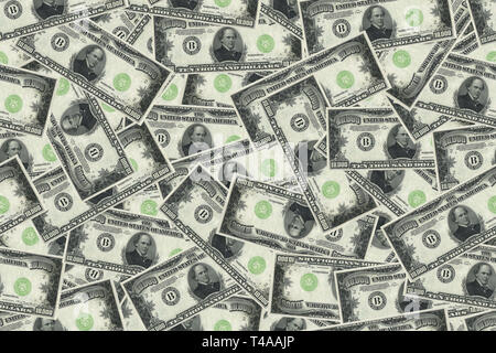 Motley background from chaotically scattered ten thousand dollar banknotes abstract seamless geometrical patterns background. - Stock Photo