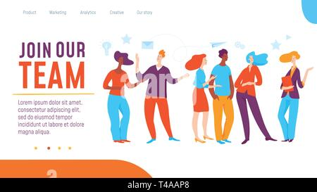 Vector join our team concept creative business illustration with working people.  - Stock Photo