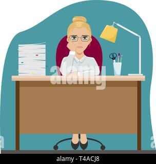 Tired girl at work at the office table. Office worker. Boredom. Flat vector illustration. - Stock Photo