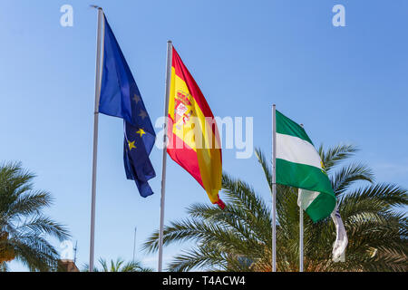 Flags of the European Union, Spain and Andalucia - Stock Photo