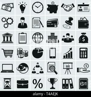 Business, finance and marketing icons. Set of 36 concept symbols. Collection of silhouette black elements for your design. Vector illustration. - Stock Photo
