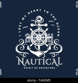 Nautical typography emblem with anchor, steering wheel, sea waves and inspirational quote 'I lost my heart to the ocean'. T-shirt design. Vector. - Stock Photo