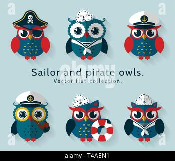 Ahoy! Set of sailor, captain and pirate owls for sea and nautical design. Funny icons isolated on blue background. Vector flat collection. - Stock Photo