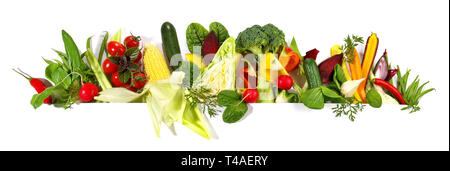 Various Vegetables Panorama on white Background - Stock Photo