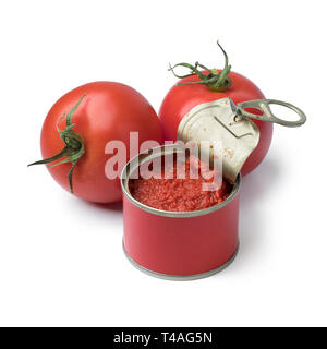 Open can with tomato paste and fresh tomatoes isolated on white background - Stock Photo