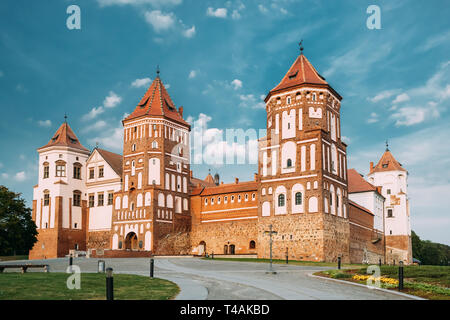 Mir, Belarus. Mir Castle Complex. Architectural Ensemble Of Feudalism, Cultural Monument, UNESCO Heritage. Famous Landmark In Summer. - Stock Photo
