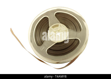 Magnetic tape from an old reel tape recorder - Stock Photo