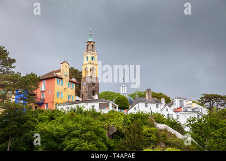 Portmerion village against a stormy sky, Wales - Stock Photo