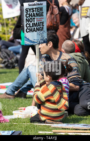 Westminster, London, UK; 15th April 2019; Young Child Holding Placard During Climate Protest Organised by Extinction Rebellion - Stock Photo