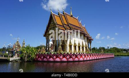 chinese plai laem temple on koh samui in thailand - Stock Photo