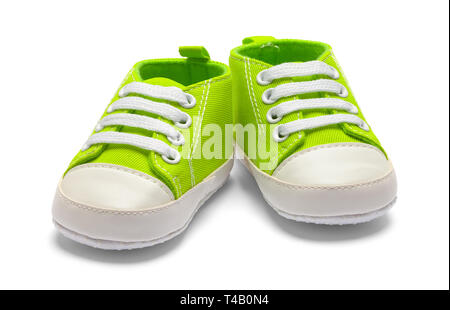 Pair of Green Baby Sneakers Isolated on White Background. - Stock Photo