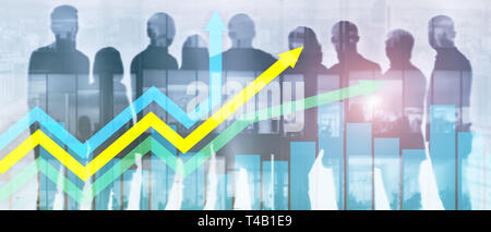 Business banner website header. Financial growth arrows graph. Investment and trading concept. - Stock Photo