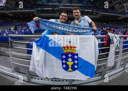 Madrid, Spain. 14th Apr, 2019. Breogan supporters during Movistar Estudiantes over Cafes Candelas Breogan (95 - 62) in Liga Endesa regular season game (day 22) celebrated in Madrid (Spain) at Wizink Center. April 14th 2019. Credit: Juan Carlos García Mate/Pacific Press/Alamy Live News - Stock Photo