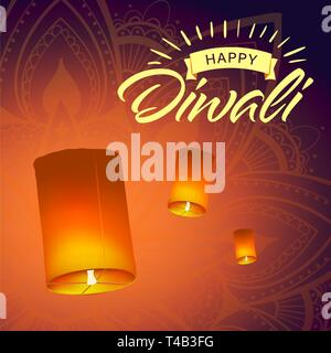 Post card for Diwali festival with realistic sky lanterns and mandala. Happy Diwali concept, insignia. Typography poster or logo for Diwali festival - Stock Photo