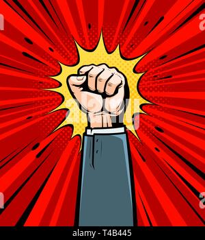 Clenched fist raised up. Cartoon in pop art retro comic style, vector illustration - Stock Photo