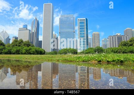 Chicago skyline seen from Grant Park. City in the USA. - Stock Photo