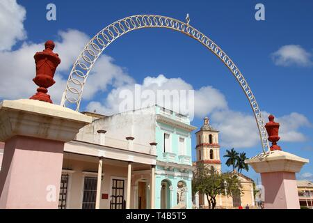 Remedios, Cuba - main square with old architecture - Stock Photo