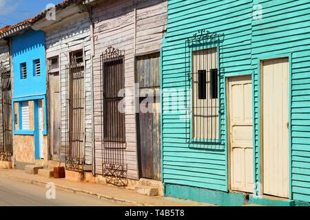 Remedios in Cuba - typical old town wooden architecture. Abstract view. - Stock Photo