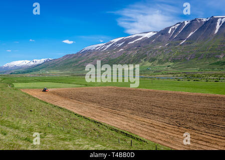 Plowed field near Vikurskard mountain pass in norther Iceland - Stock Photo