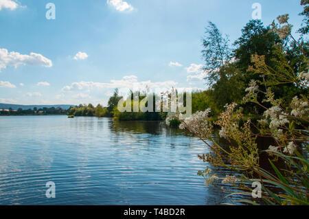 lake Weissenstadt, Weissenstadt, Bavaria, Germany, Europe, Weissenstädter See - Stock Photo